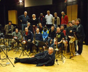 Issie Barratt and the Bohuslän Big Band after recording Strange Fruit for the Letter to Billie CD November 2007