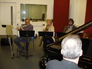 Meinrad Iten Quartet recording the Meinrad Iten Suite in Trinity College of Music's studio